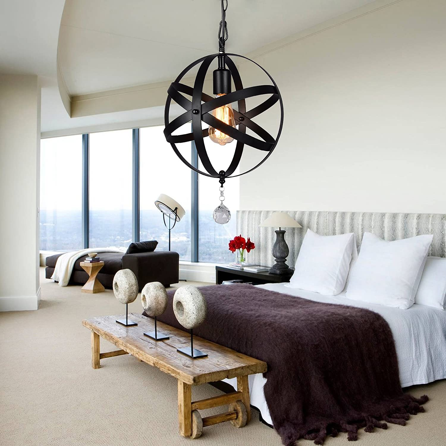 HMVPL Plug-in Industrial Globe Pendant Lights with 16.4ft Hanging Cord and On Off Dimmer Switch, Vintage Metal Spherical Lantern Chandelier Swag Ceiling Lighting Fixture for Kitchen Island Bedroom Bar