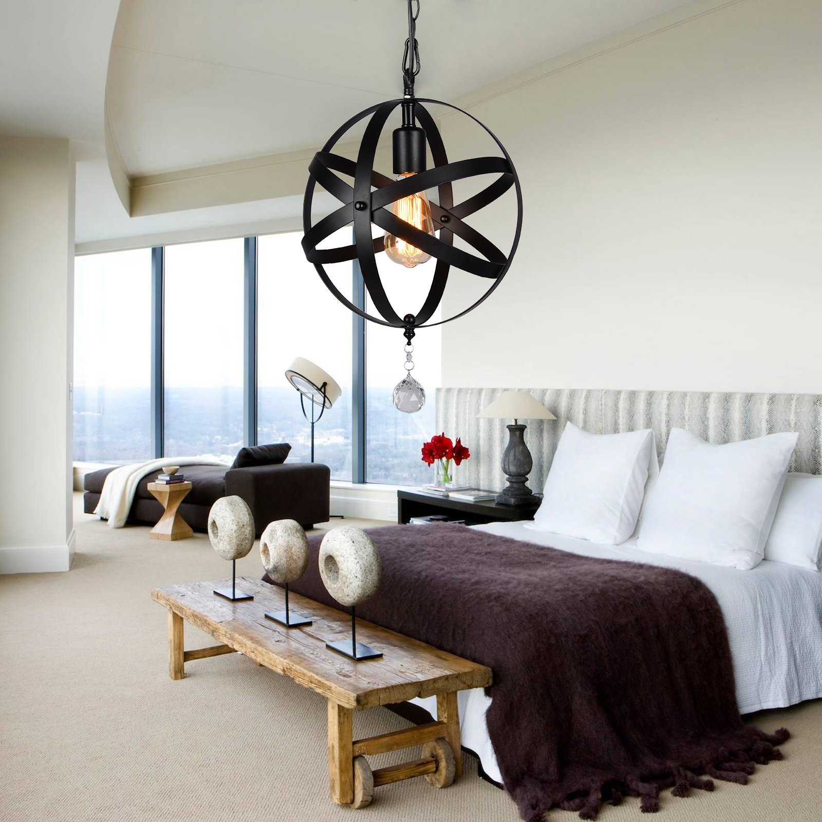 HMVPL Plug-in Industrial Globe Pendant Lights with 16.4 Ft Hanging Cord and Dimmable On/Off Switch, Vintage Metal Spherical Lantern Chandelier Ceiling Light Fixture by HMVPL (Image #3)