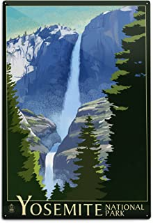 product image for Lantern Press Yosemite National Park, California - Yosemite Falls - Lithography 50664 (6x9 Aluminum Wall Sign, Wall Decor Ready to Hang)