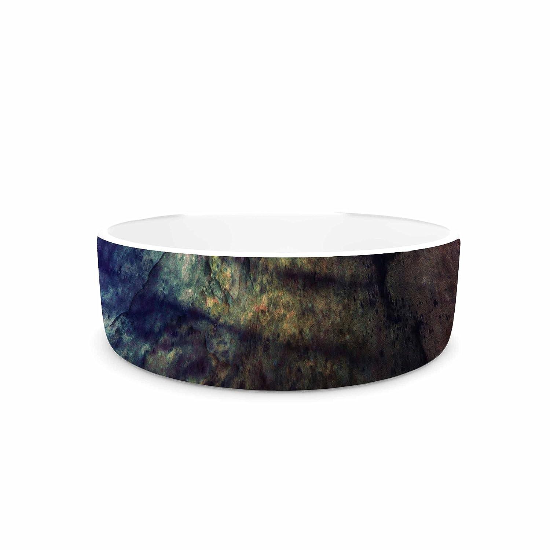 KESS InHouse Pia Schneider Abstraction No12 Multicolor Black Mixed Media Pet Bowl, 7  Diameter