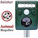 Belidan Solar Powered Repellent - Ultrasonic Animal Repeller for Fox Mice Rat Cat Dog - Raccoon Repellent Skunk Repellent - Outdoor Animal Repellent Ultrasonic with Motion Sensor and LED