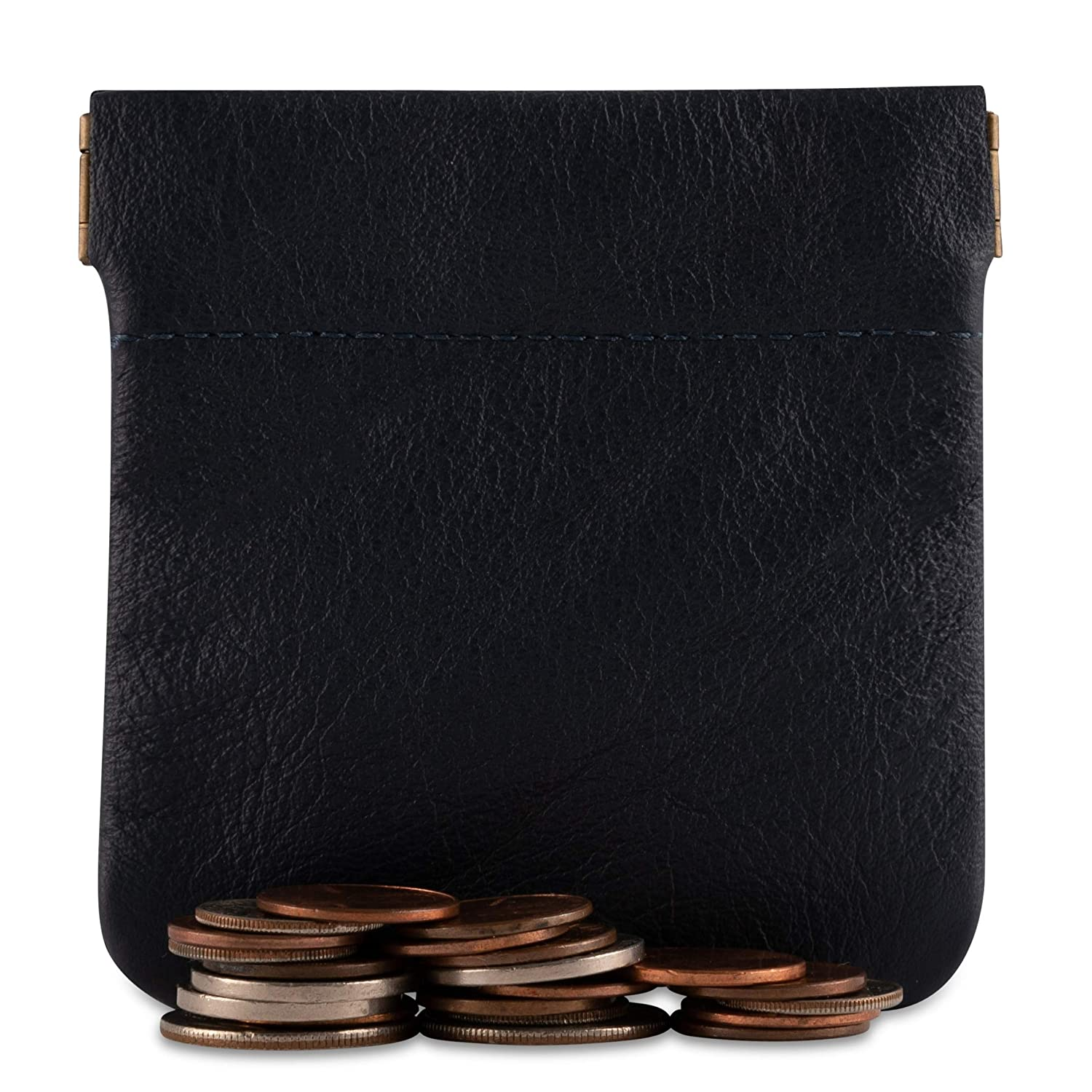 for Men//Woman Pouch Size 3.5 x 3.5 Change Holder Made in U.S.A Genuine Leather Squeeze Coin Purse