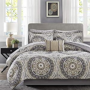 Madison Park Essentials Cozy Bag Comforter, Medallion Damask Design All Season Down Alternative Complete Sheet Set, Bed Skirt, Twin(68