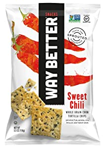 Way Better Snacks Sprouted Gluten Free Tortilla Chips, So Sweet Chili, 12 Count
