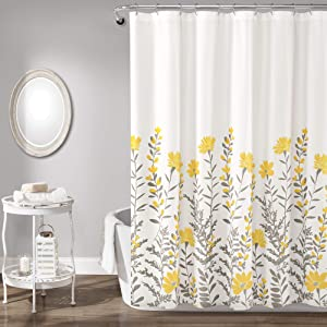 """Lush Decor, Yellow and Gray Aprile Shower Curtain, 72"""" x 72"""""""