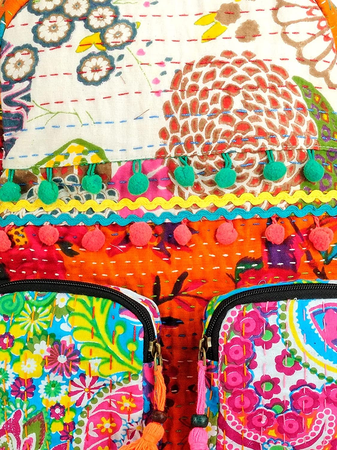 The House of Tara Patchwork Fabric Backpack in Kantha Work HTBP 141