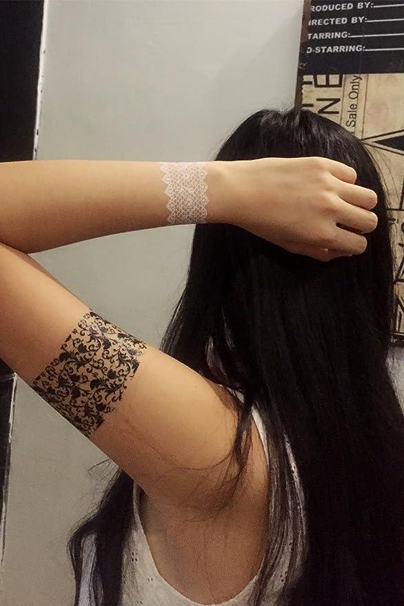ChicTats Tatuajes temporales de Encaje Negros - Pack de 3 Hojas ...