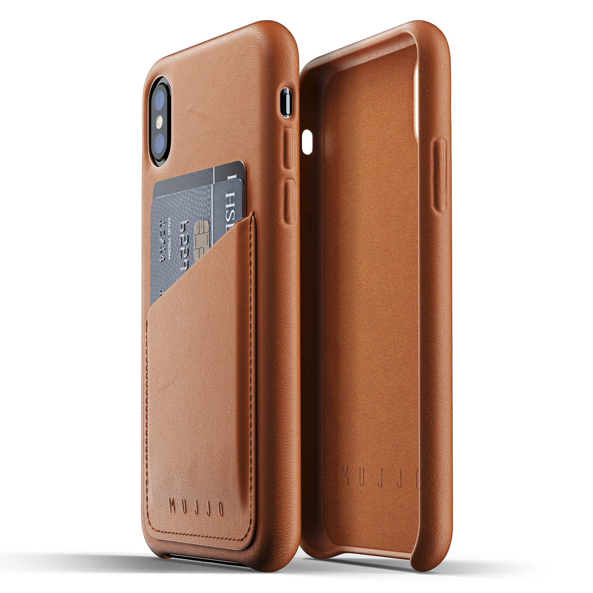 Mujjo Full Leather Wallet Case for iPhone Xs, iPhone X | Premium Genuine Leather, Natural Aging Effect | 2-3 Card Pocket, Wireless Charging (Tan) by Mujjo