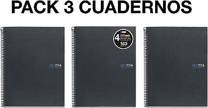 MIQUELRIUS - Pack 3 Cuadernos - A4 Espiral Microperforado, Cubierta de Cartón Forrado, Tamaño 210 x 297 mm,