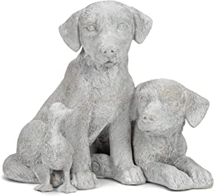 Adorable Puppies with Duckling Soft Grey 9.25 Inches Resin Outdoor Garden Statue