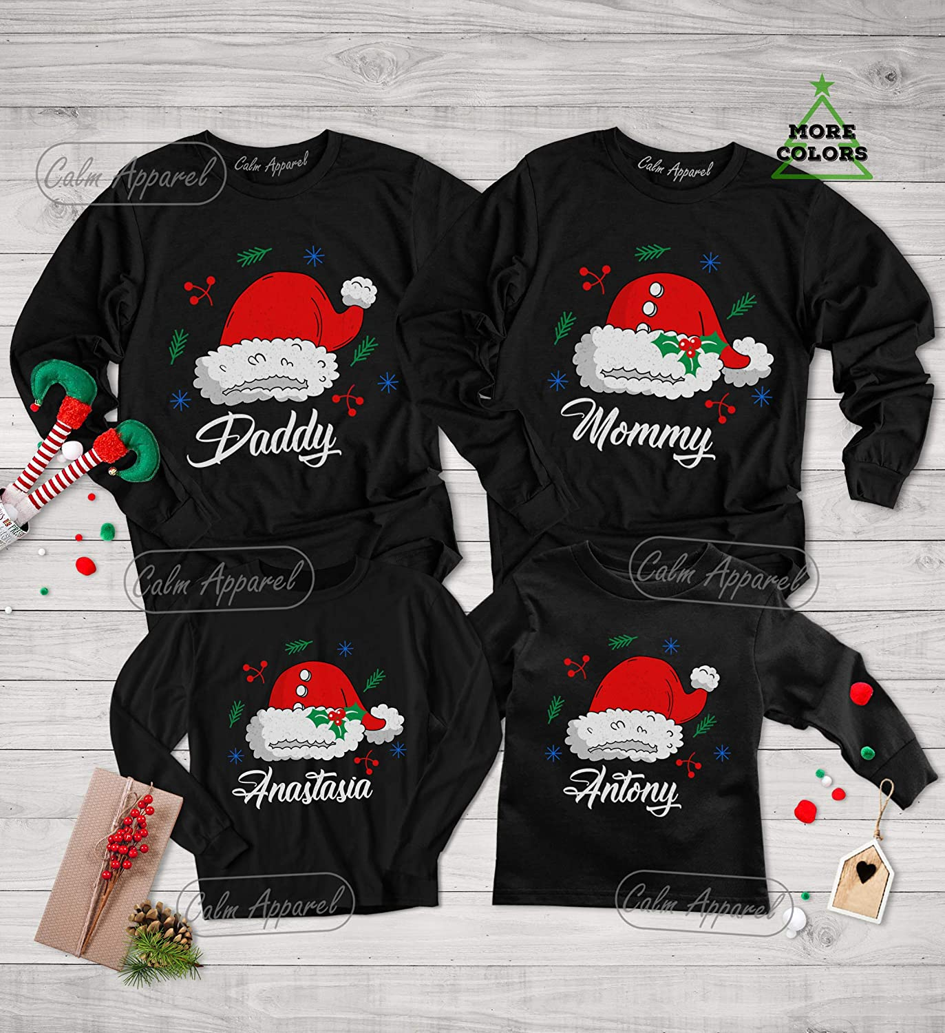 Women/'s long-sleeved Holiday Christmas Tee embroidered Santa Baby