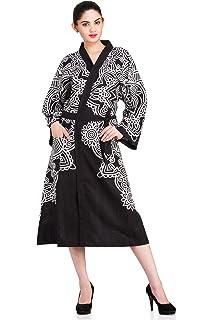 730a6b1151 Handicraft-Palace Black Yin Yang Mandala Printed Sleepwear Kimono Poole  Side Dress Gown Cotton Spa
