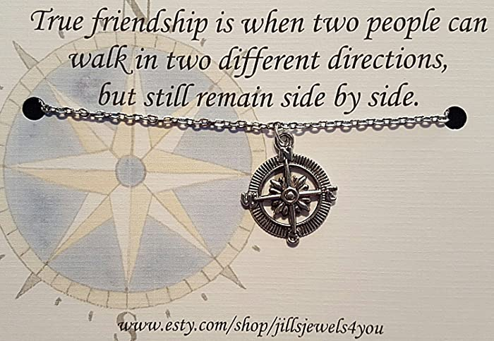 Amazon.com: Compass Best Friend Necklace and Quote ...