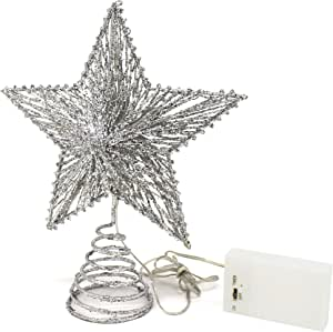 CVHOMEDECO. Silver Glittered 3D Tree Top Star with Warm White LED Lights and Timer for Christmas Ornaments and Holiday Seasonal Décor, 8-Inch