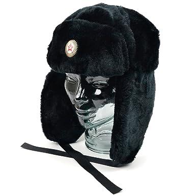 Black Faux Fur Russian Ushanka Hat 59cm Trapper hat removable soviet badge.