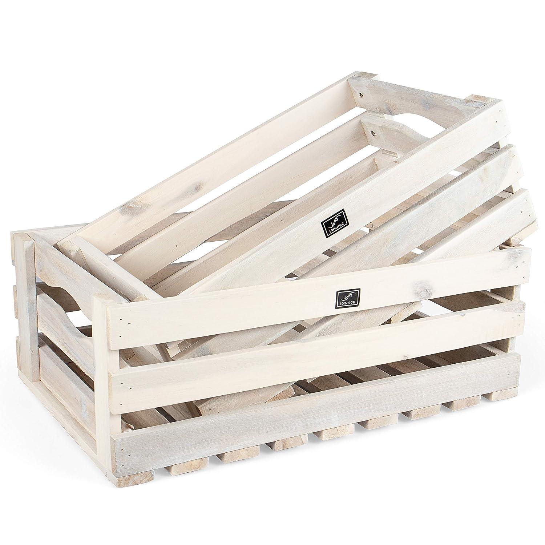 Apfelkiste oder Kartoffelkiste brauchbar in wei/ß /… Vanage Holzkiste f/ür Obst und Gem/üse 2er Set Aufbewahrungskisten aus Akazienholz ge/ölt Kiste f/ür den Garten