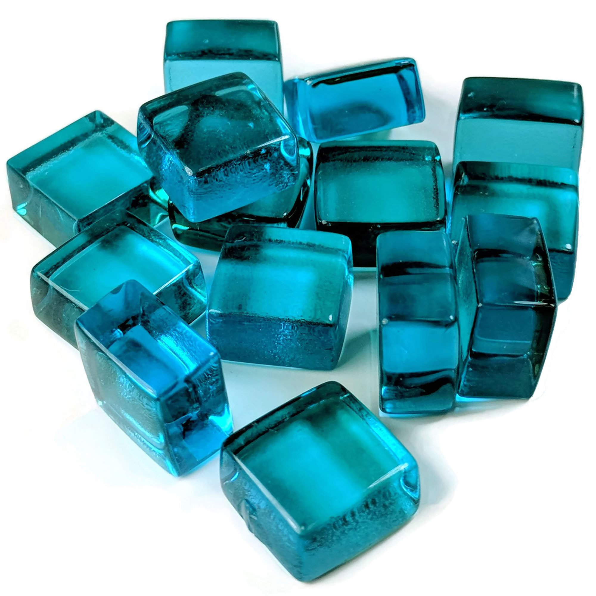 Midwest Hearth Cube Fire Pit Glass 1/2'' Squares 10-Pounds (Tropical Blue)