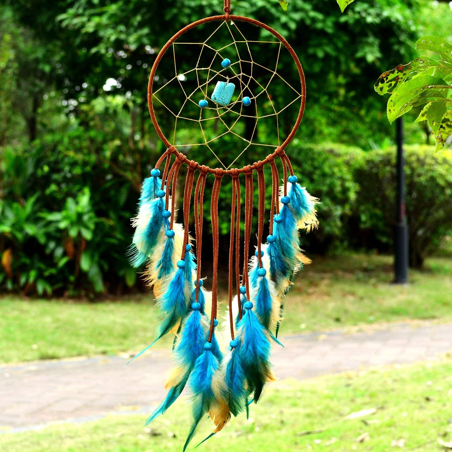 """Littlear Dream Catcher Handmade Wall Hanging Home Decor Dream Catcher with Feathers Dia 5.9"""" (NO.2)"""
