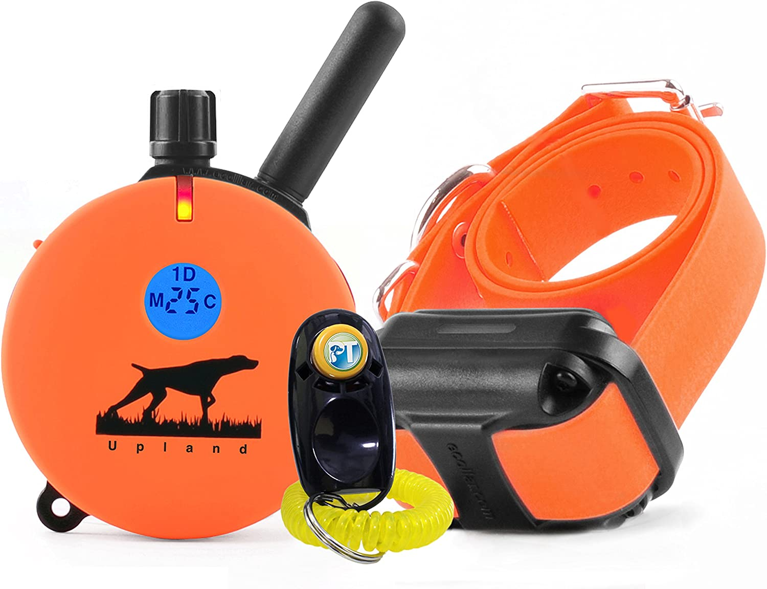 Bundle of 2 items – E-Collar – UL-1200 – 1 Mile Rechargeable Remote Waterproof Upland Hunting Trainer Educator – Static, Vibration and Sound Stimulation collar with PetsTEK Dog Training Clicker