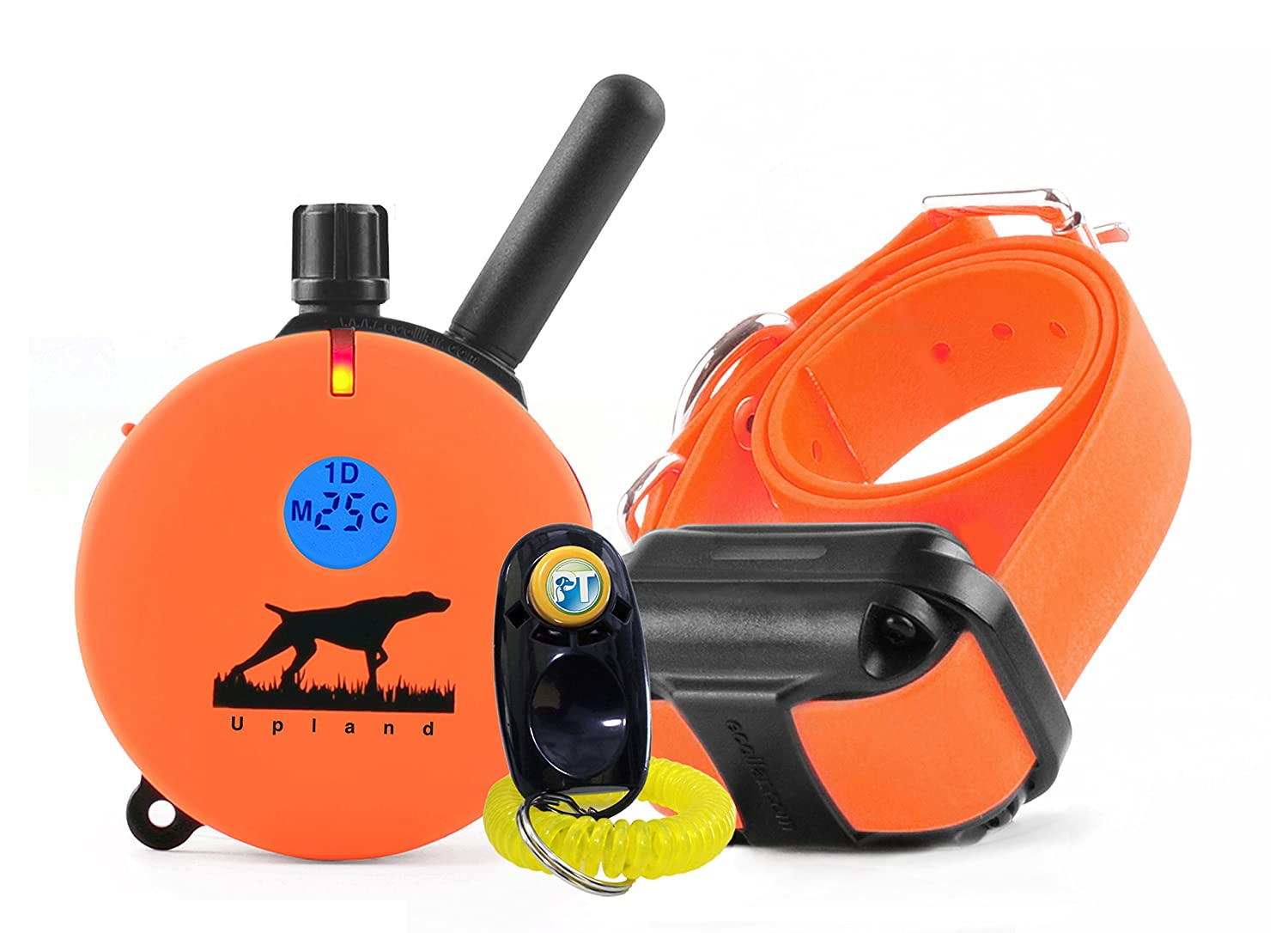 Bundle of 2 items E-Collar UL-1200-1 Mile Rechargeable Remote Waterproof Upland Hunting Trainer Educator Static, Vibration and Sound Stimulation collar with PetsTEK Dog Training Clicker