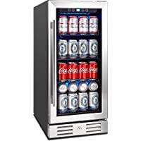 """Kalamera 15"""" Beverage Cooler 96 can Built-in or Freestanding Touch Control Beverage Fridge with Blue Interior Light"""
