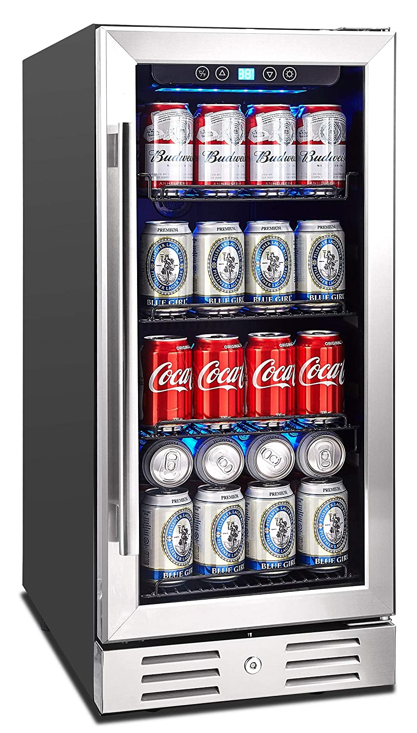 Kalamera 15 Beverage Cooler 96 can Built-in or Freestanding Touch Control Beverage Fridge with Blue Interior Light