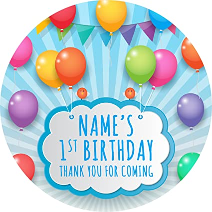 Bunting Party Balloons Sticker Labels 6 Stickers 95cm Each Personalised Seals Ideal
