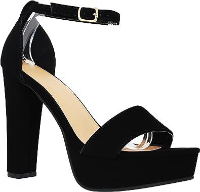 chunky heel pumps open toe