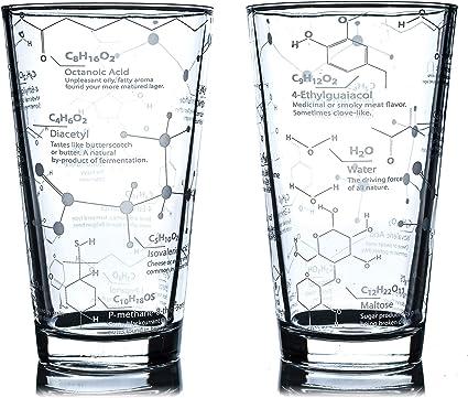 Greenline Goods Vasos de Cerveza - Vaso de Pinta de 16 oz (Juego de 2) Science of Beer Glassware - Grabado con moléculas de química de Cerveza y ...