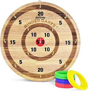 GoSports Ringer Darts Toss Game   Indoor Outdoor Hook Ring Toss Set for Kids & Adults, Natural