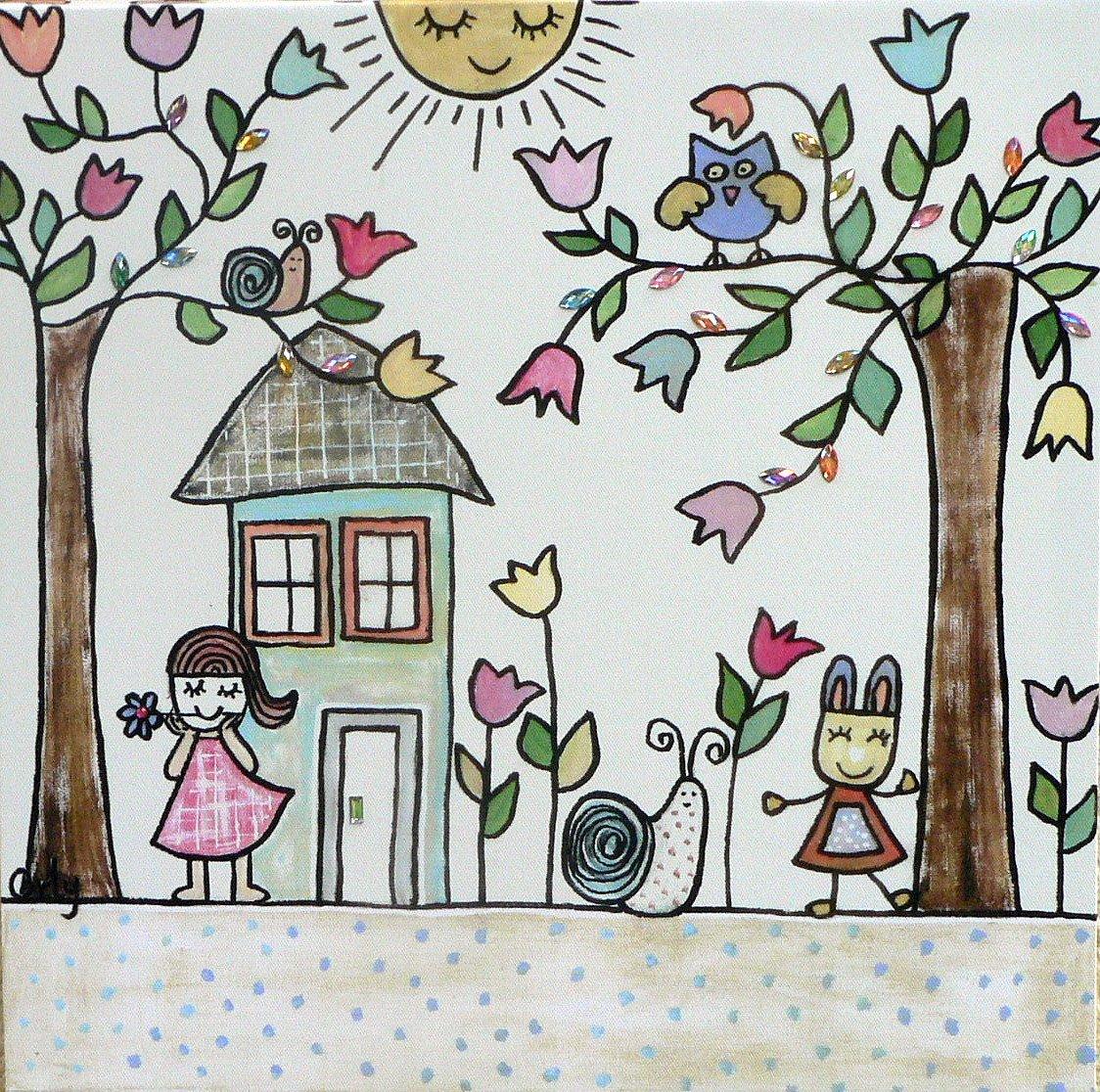 Orly Kunst für Kinder Wandbild Schöner Tag, 40 x 40 cm