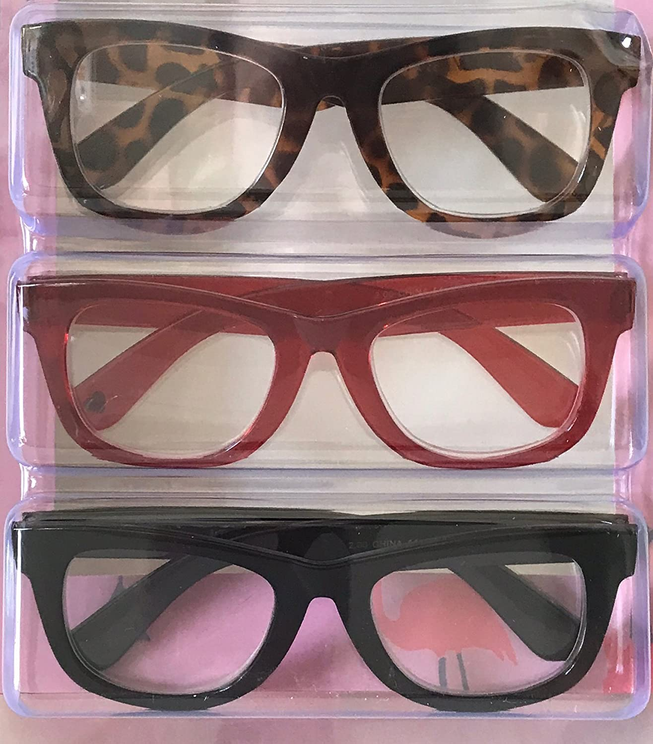99b7e7eb7e Amazon.com  Betsey Johnson Red Animal Print Reading Glasses 3 Pack Readers  (+1.50 Strength)  Health   Personal Care