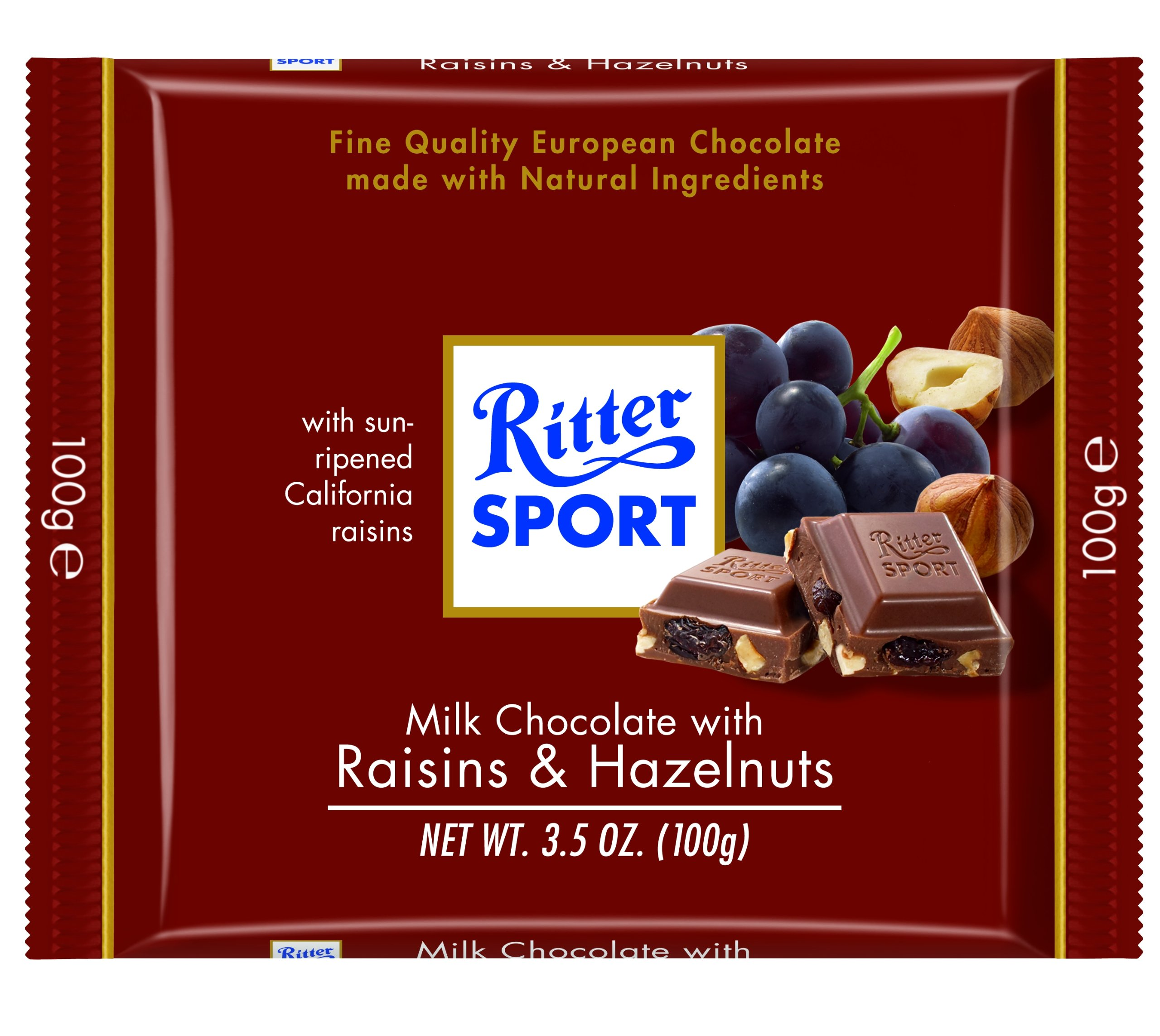 Ritter Sport, Milk Chocolate with Raisins & Hazelnuts, 3.5-Ounce Bars (Pack of 12) by Ritter Sport