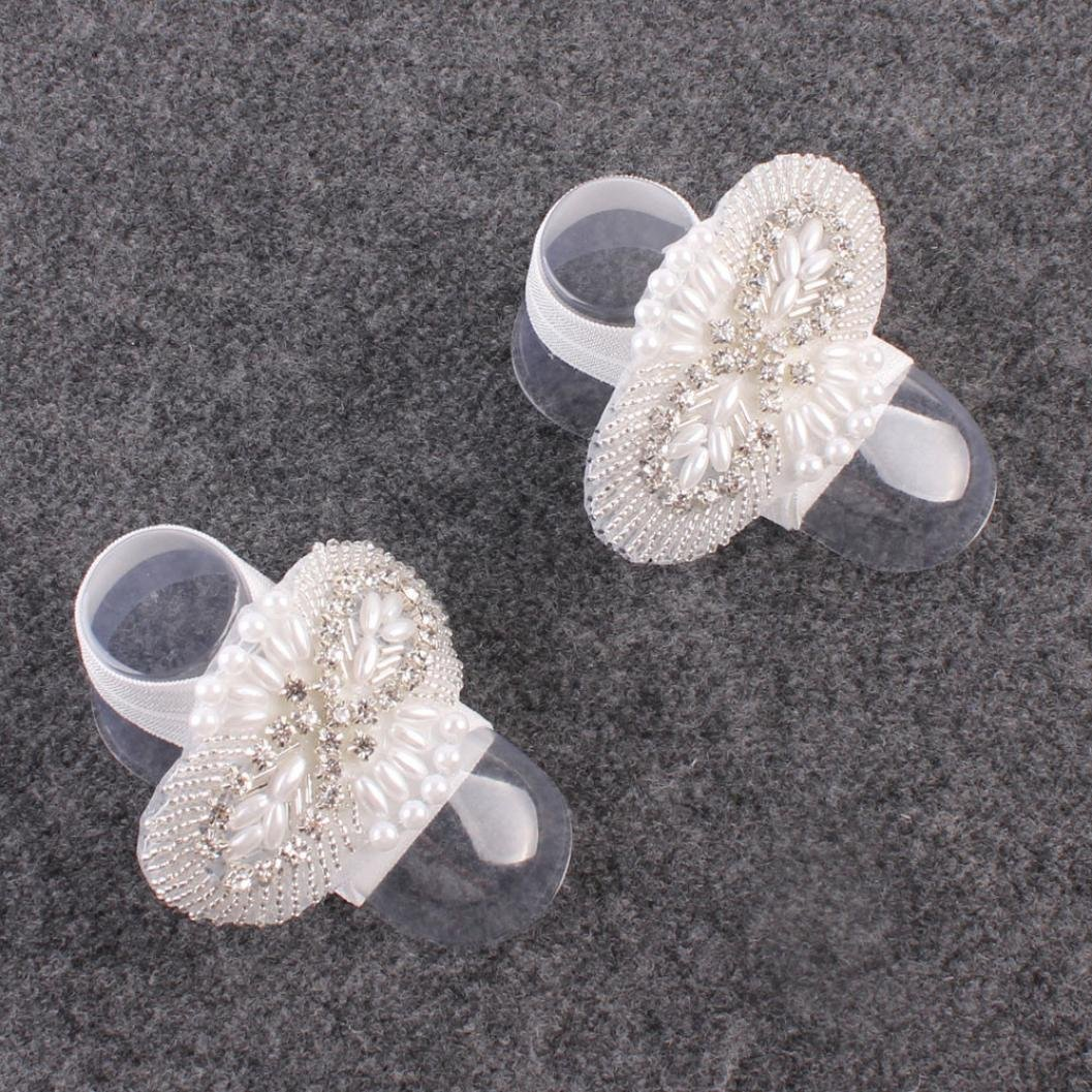 Amazon.com: Voberry 1Pair Fashion Beautiful Baby Girls Pearl Barefoot Toddler Foot Flower Beach Sandals (A): Clothing