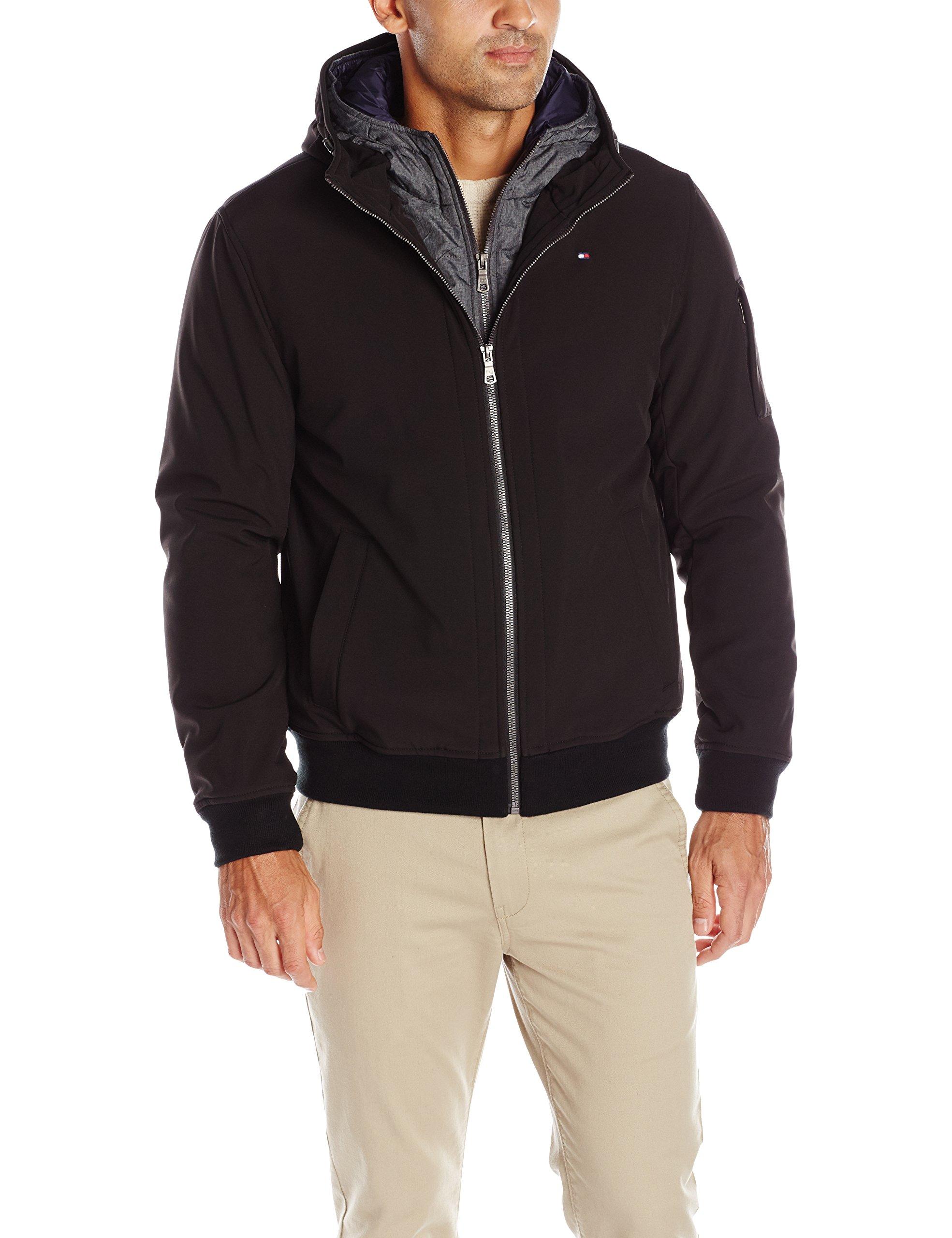 Tommy Hilfiger Men's Soft Shell Fashion Bomber with Contrast Bib and Hood, Black/Heather Grey Bib, S