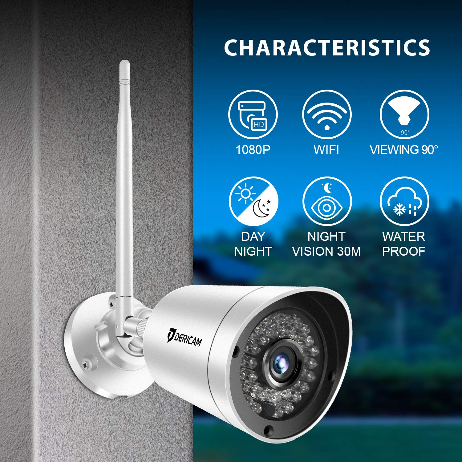 Dericam Wireless Outdoor Security Camera 1080P 30fps Full HD Wi-Fi Bullet Camera, with Powerful 4db Enhanced Wi-Fi Antenna, External SD Card Slot Available and Up to 128GB, 1080-B2A, White