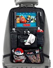 XL Car Seat Organizer for Kids - Car Seat Back Protector with Tablet Holder Converts to Stroller Organizer - Waterproof Backseat Car Organizer with iPad Car Holder and Wipe Compartment by BabySeater