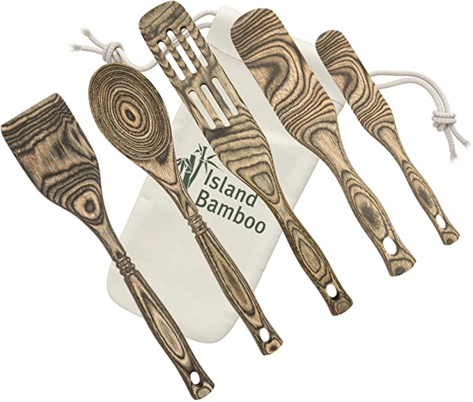 Island Bamboo Pakka Wooden 5 Piece Kitchen Utensil Set With Gift Bag 12 Spoon 12 Spatula 13 Slotted Spurtle 11 Spurtle 8 Slim Spurtle For Serving Cooking Heat Resistant Lightweight Kitchen Dining