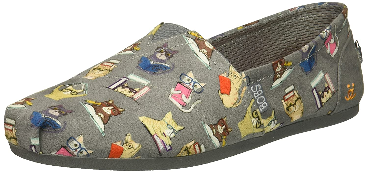 Skechers BOBS from Women's Plush-Studious Cats Ballet Flat B077TFX6LP 9 M US|Charcoal