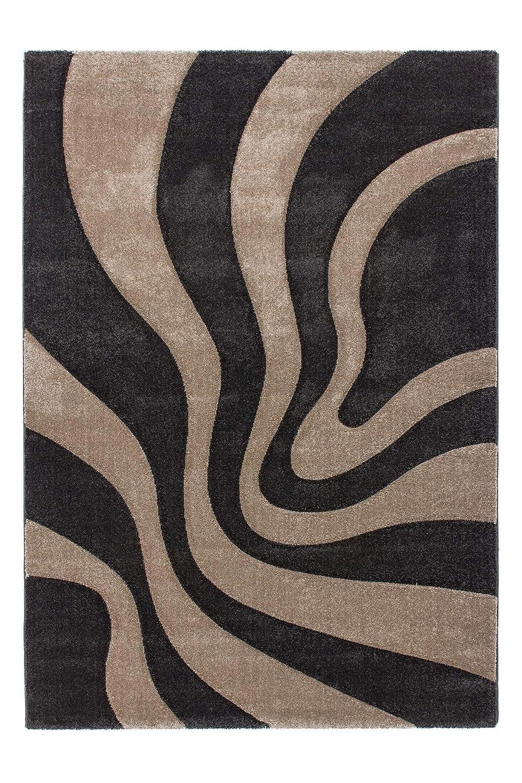 Lalee  347181346  Moderner Designer Teppich   Muster   Ranke   Konturenschnitt   Grau Beige   Grösse   160 x 230 cm