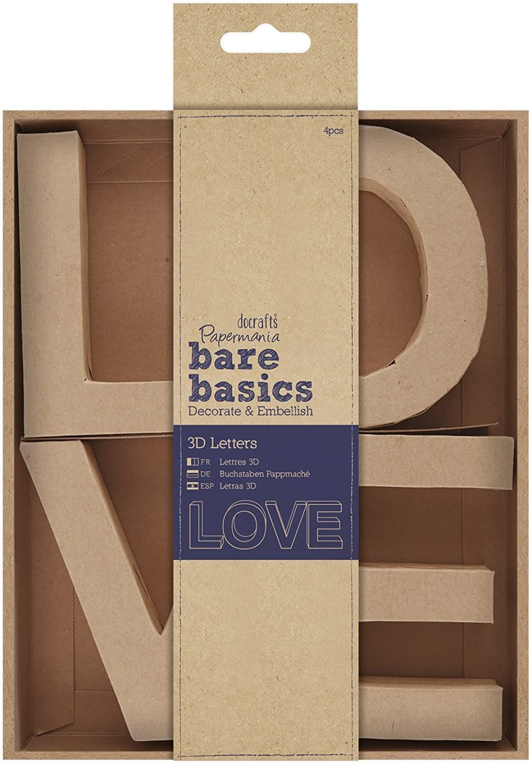 4 Pack Brown docrafts PMA174072 Love Papermania Bare Basics 3D Letters 10cm