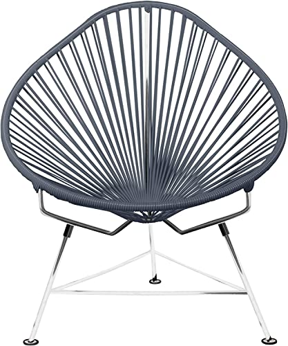 Innit Designs Acapulco Chair, Chrome Frame with Grey Weave