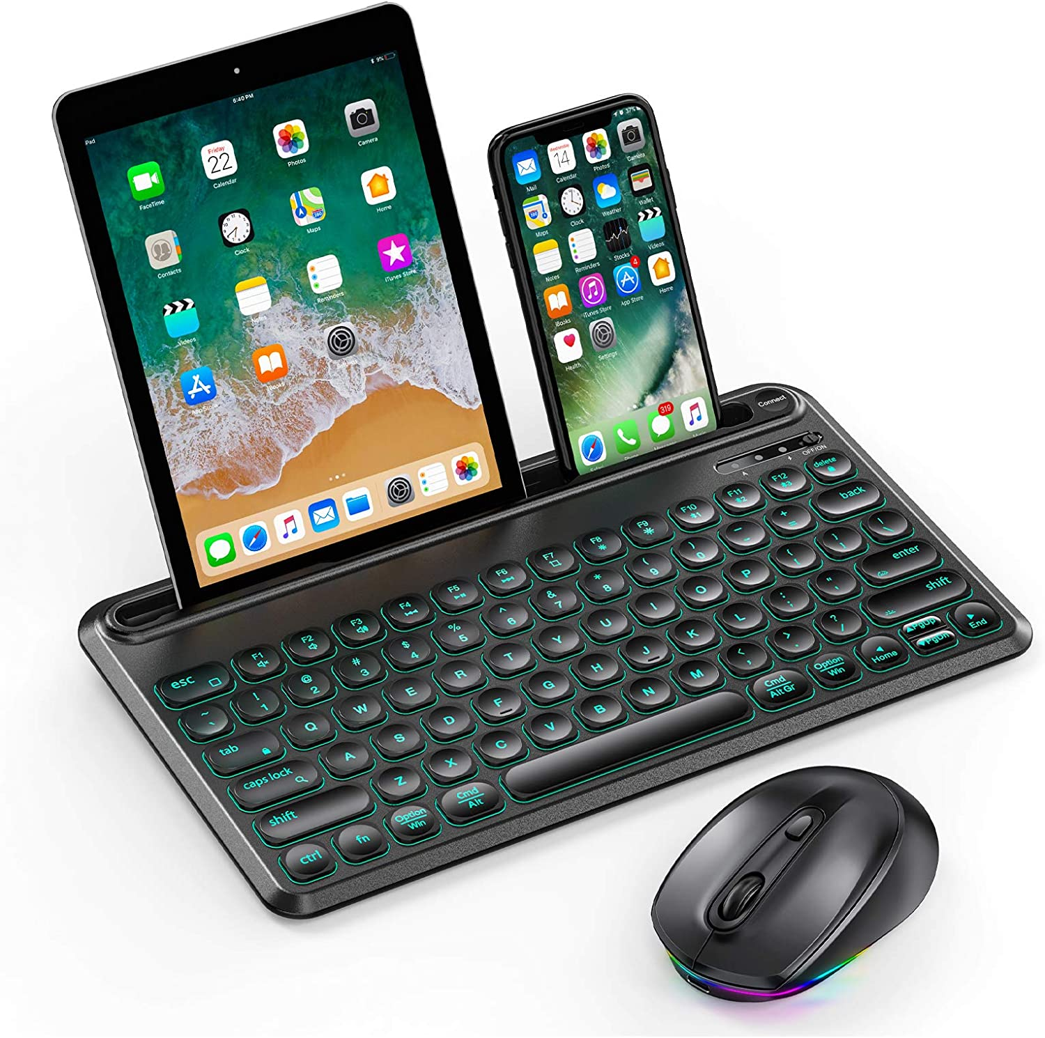 BacklitBluetooth KeyboardandMouse, Jelly Comb Multi-Device LED Illuminated Wireless Keyboard RGB Mouse for Mac OS, iOS, Android, Windows, iPad Tablet iPhone PC - Black