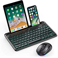 Backlit Bluetooth Keyboard and Mouse, Jelly Comb Multi-Device Illuminated Wireless Keyboard RGB Mouse for Mac OS, New…