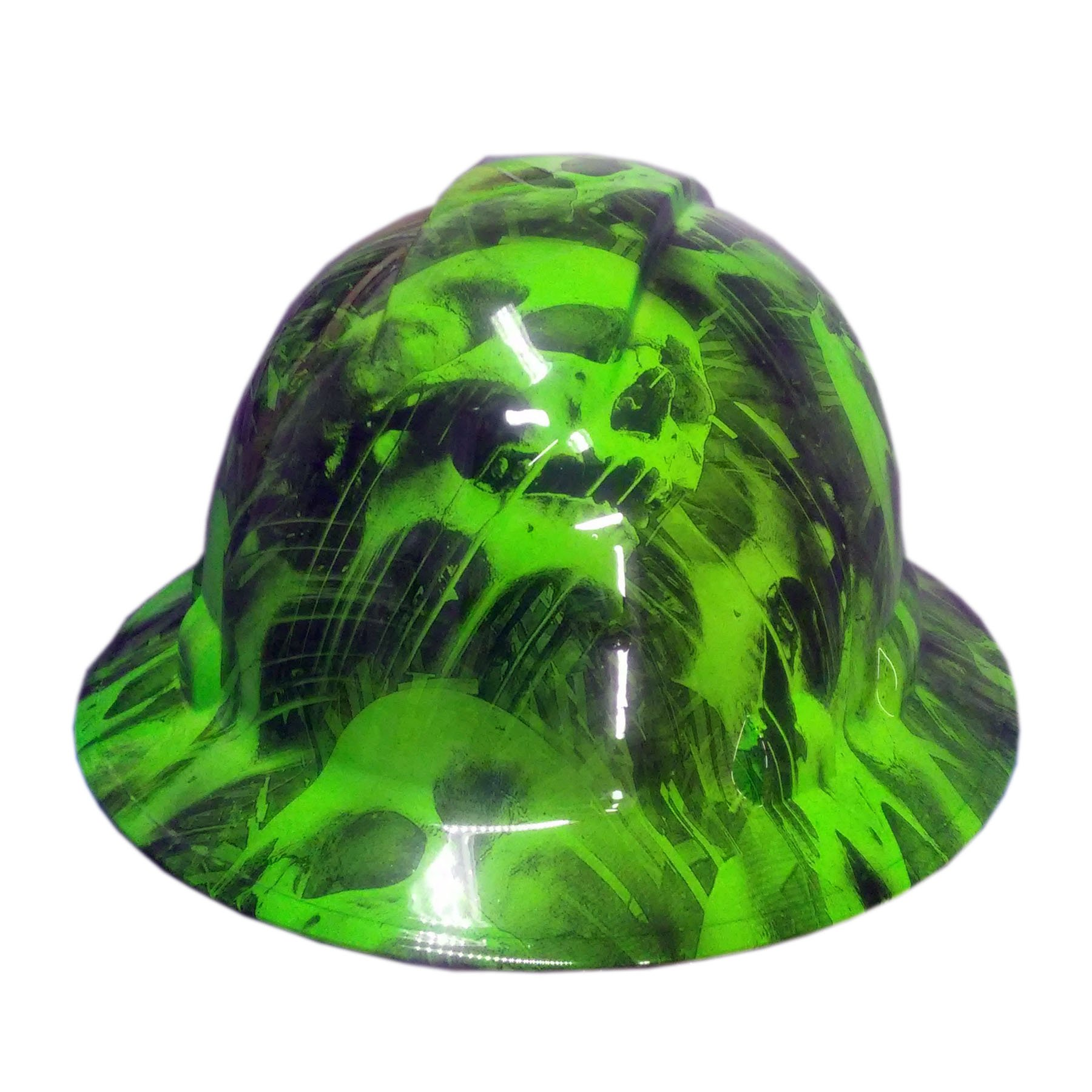 Izzo Graphics Green Toxic Skull Pyramex Ridgeline Full Brim Hard Hat