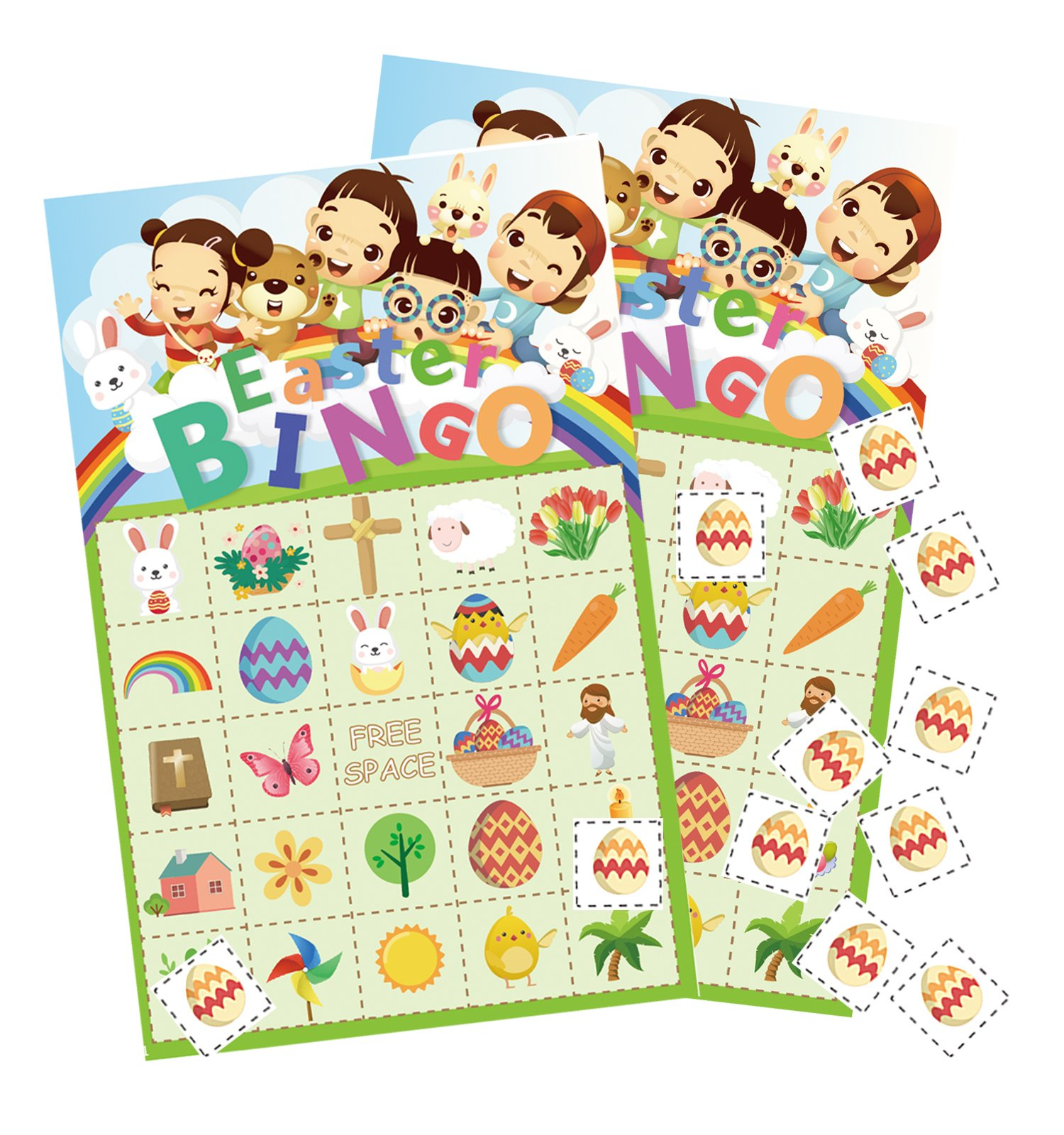 Easter Bingo Game for Kids - Party Cards Bunny Egg Hunt Activity - 24 Players