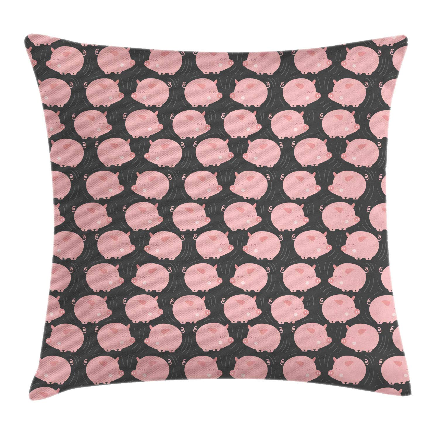 Lunarable Nursery Throw Pillow Cushion Cover, Smiling Cheerful Pig in Cartoon Style Preschool Theme Domestic Farm Animal, Decorative Square Accent Pillow Case, 24'' X 24'', Grey and Blush by Lunarable