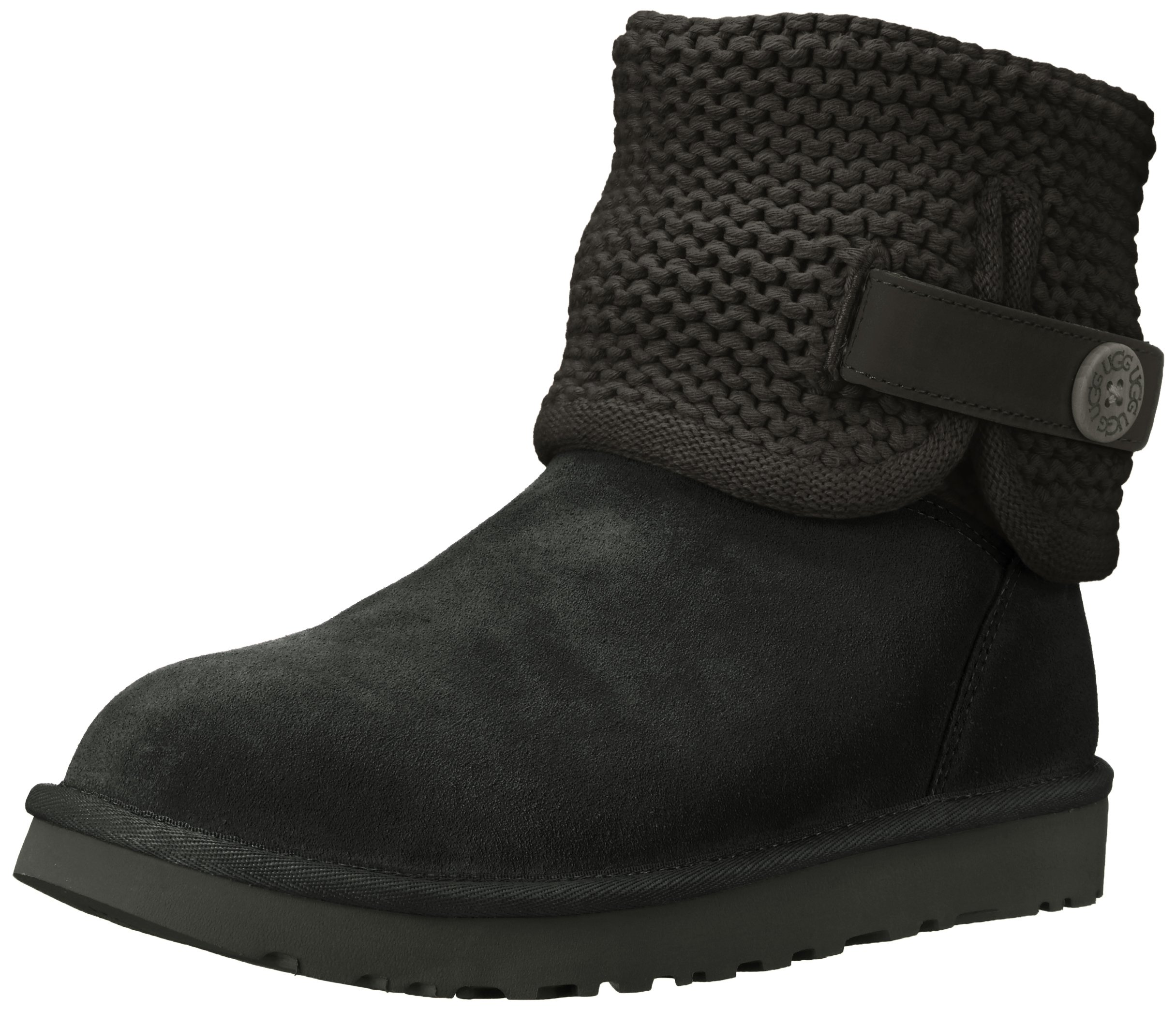 UGG Women's Shaina Slip on Slipper, Black, 5 M US