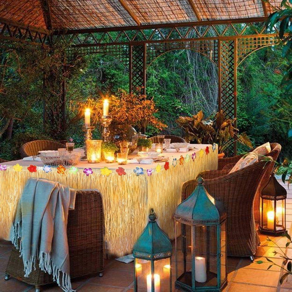 MMTX Hawaiian Luau Table Skirt,9ft Hibisus Grass Hawaii Summer Garden BBQ Tropical Beach Tropical Garden Luau Party Tiki Party Decoration Yellow