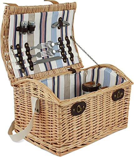 ZORMY Willow Picnic Basket for 2 Persons, Large Wicker Picnic Hamper Set with Stripe Lining Includes Silverware, Glasses and Accessories